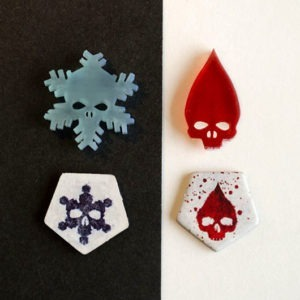 Tokens realizados en 3D para Juego de Mesa Dead Of Winter
