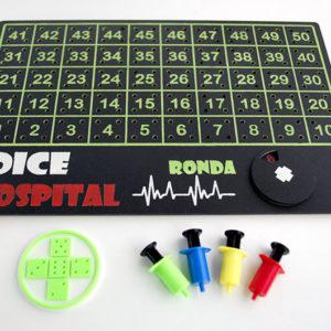 Tablero artesanal de madera para juego de mesa Dice Hospital