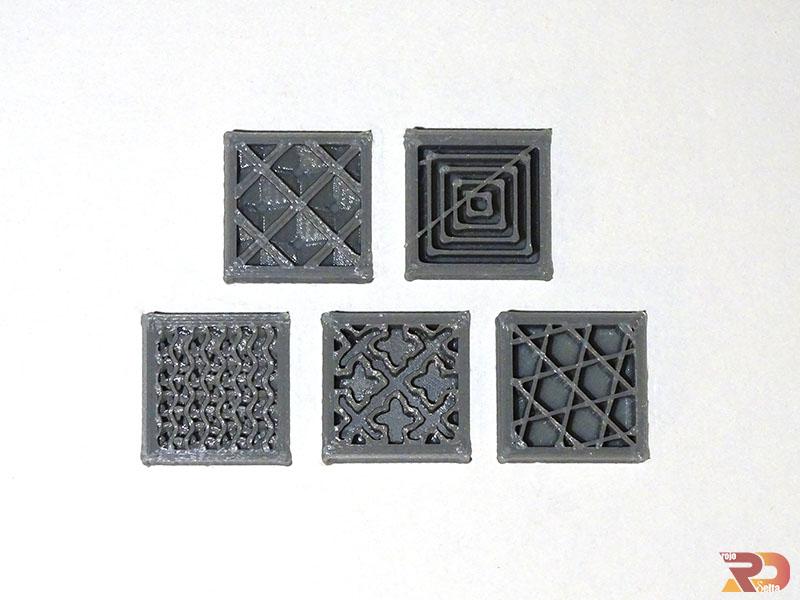 Piezas en 3D con diferentes patrones de relleno